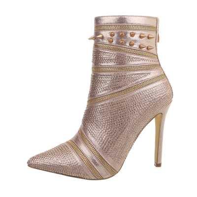 High Heel Stiefeletten für Damen in Rosa und Gold