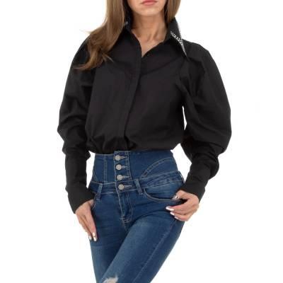 Hemdbluse für Damen in Schwarz