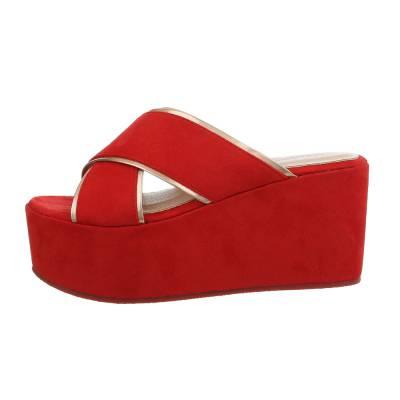 Keilsandaletten für Damen in Rot