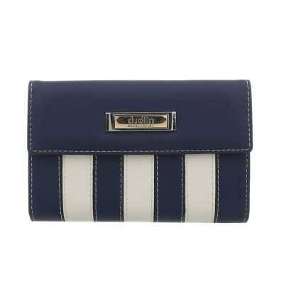 Portemonnaie Damen Geldbörse Blau Creme
