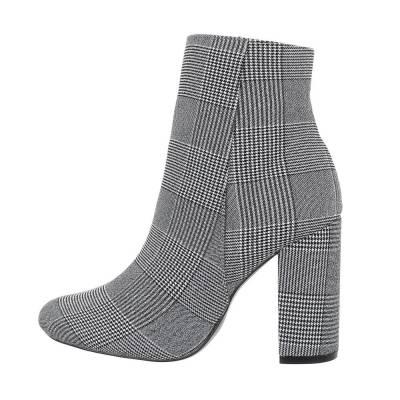 High Heel Stiefeletten für Damen in Grau und Schwarz