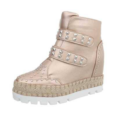 Sneakers high für Damen in Gold und Beige