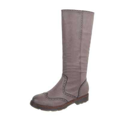 Flache Stiefel für Damen in Grau