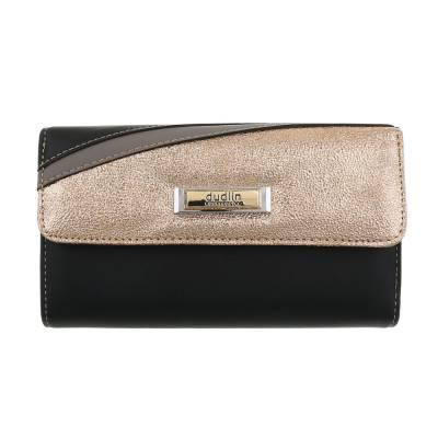 Portemonnaie Damen Geldbörse Schwarz Gold