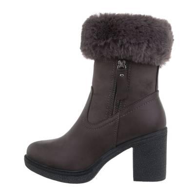 High Heel Stiefeletten für Damen in Grau und Braun