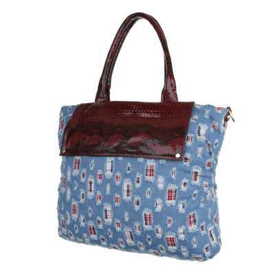Große Damen Tasche Hellblau Rot
