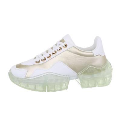 Sneakers low für Damen in Gold und Weiß
