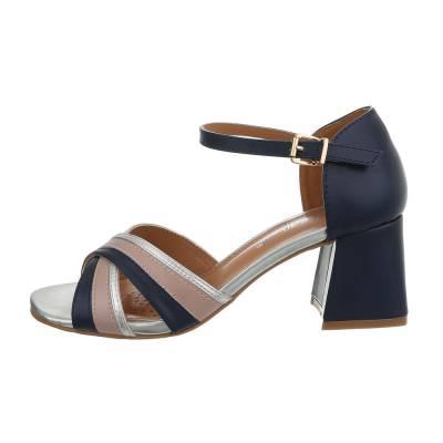 High Heel Sandaletten für Damen in Blau und Silber