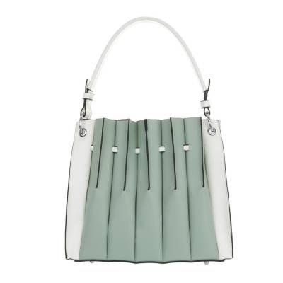 Mittelgroße Damen Tasche Grün Weiß