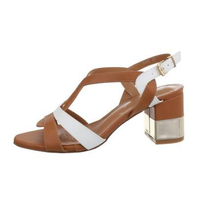 High Heel Sandaletten für Damen in Braun und Weiß