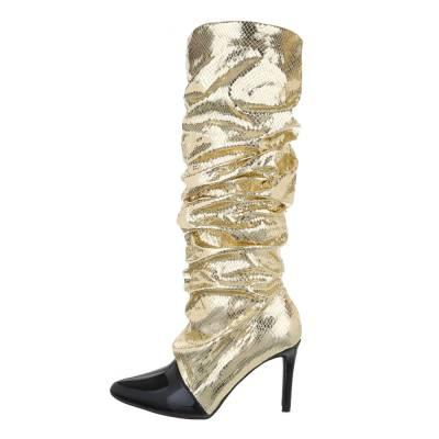 High Heel Stiefel für Damen in Gold und Schwarz