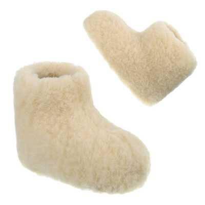 Warm Gefütterte Kinder Schurwolle Hausschuhe Creme
