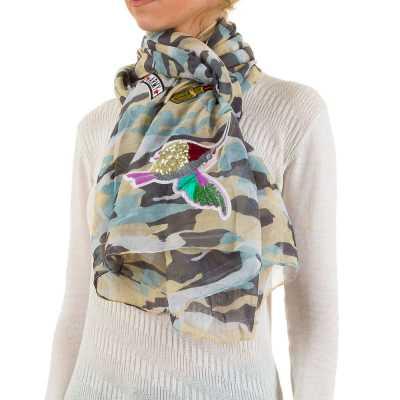 Applikationen Camouflage Xxl Schal Gelb