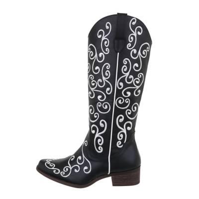 Flache Stiefel für Damen in Schwarz und Weiß