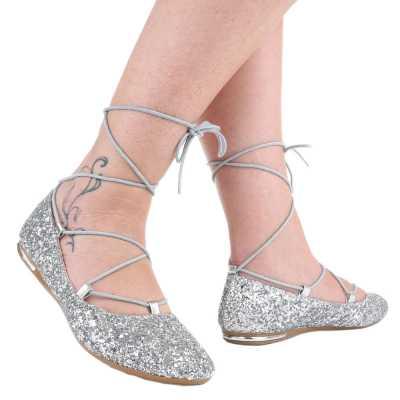 Riemchenballerinas für Damen in Silber