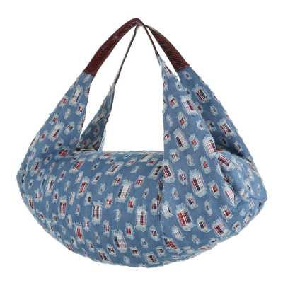 übergroße Damen Tasche Blau Rot