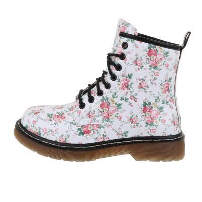 Schnürstiefeletten für Damen in Weiß und Rosa