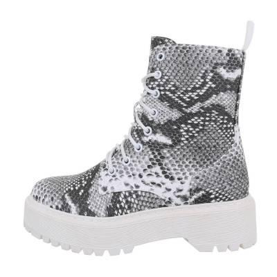 Schnürstiefeletten für Damen in Grau und Weiß