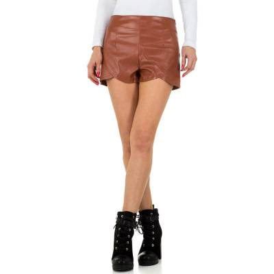 Shorts in Lederoptik für Damen in Braun