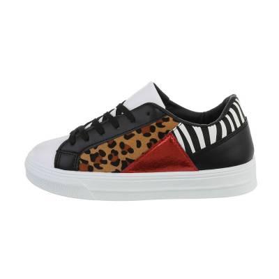 Sneakers low für Damen in Leo und Schwarz