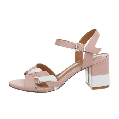 High Heel Sandaletten für Damen in Rosa und Weiß
