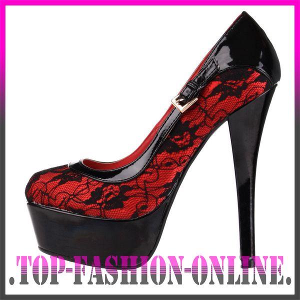neu designer damen schuhe pumps high heels plateau mit spitze eh82 rot schwarz ebay. Black Bedroom Furniture Sets. Home Design Ideas