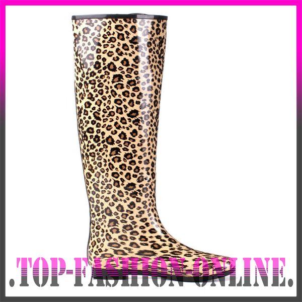 neu designer damen schuhe stiefel warm gummistiefel in leopard look bw7j leo ebay. Black Bedroom Furniture Sets. Home Design Ideas