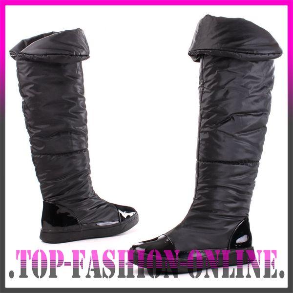 designer damen schuhe overknee stiefel boots mit lack leder optik t06z schwarz ebay. Black Bedroom Furniture Sets. Home Design Ideas
