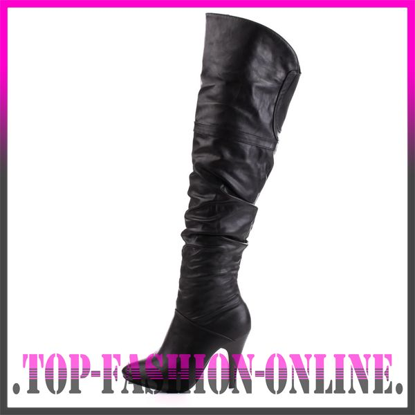 designer damen schuhe high heels in leder optik overknee stiefel lq68 schwarz ebay. Black Bedroom Furniture Sets. Home Design Ideas