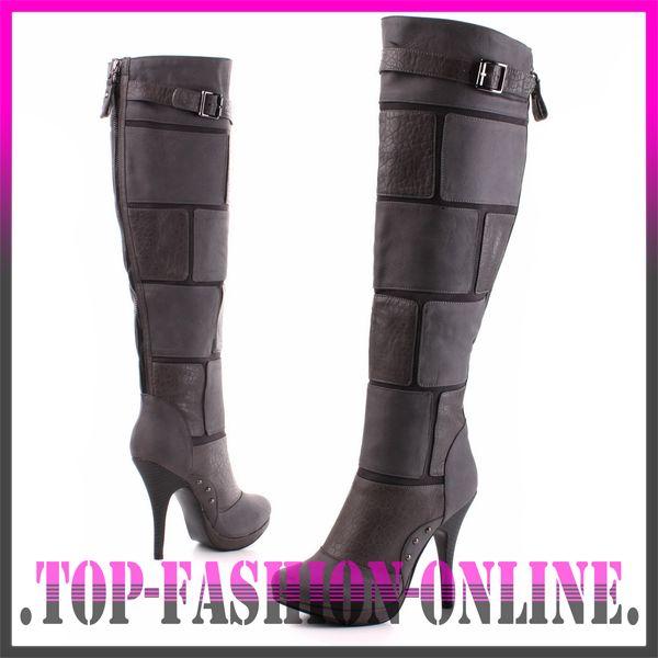 neu damen schuhe plateau high heels in leder optik stiefel. Black Bedroom Furniture Sets. Home Design Ideas