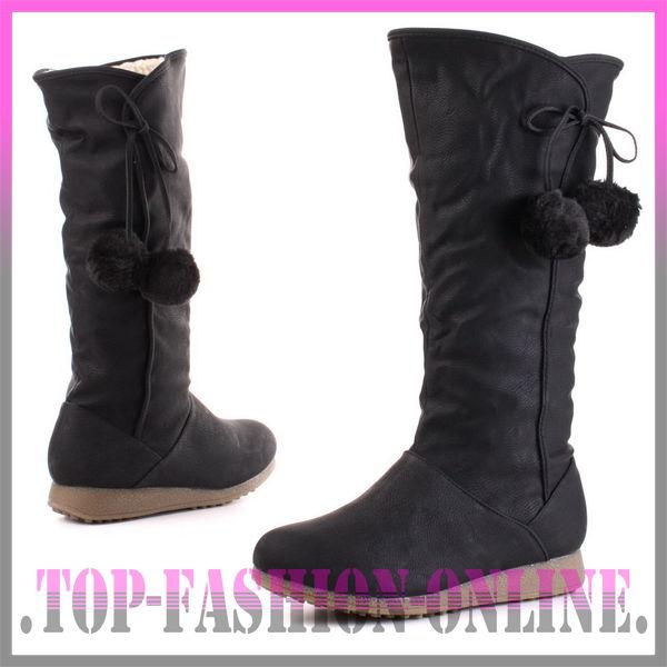 neu designer damen schuhe stiefel boots mit bommel in. Black Bedroom Furniture Sets. Home Design Ideas
