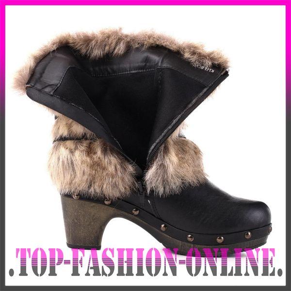 luxus neu designer damen schuhe stiefeletten boots mit kunst fell o87z schwarz ebay. Black Bedroom Furniture Sets. Home Design Ideas