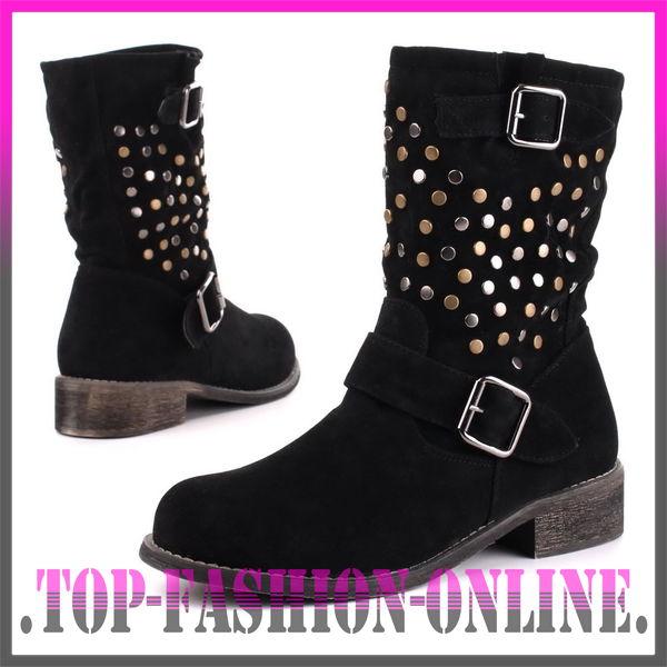 luxus neu designer damen schuhe stiefeletten boots stiefel mit nieten qp7w ebay. Black Bedroom Furniture Sets. Home Design Ideas