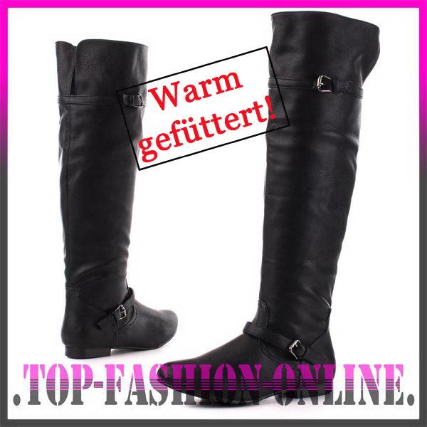 designer damen schuhe overknee stiefel boots in leder optik warm oy7v schwarz ebay. Black Bedroom Furniture Sets. Home Design Ideas