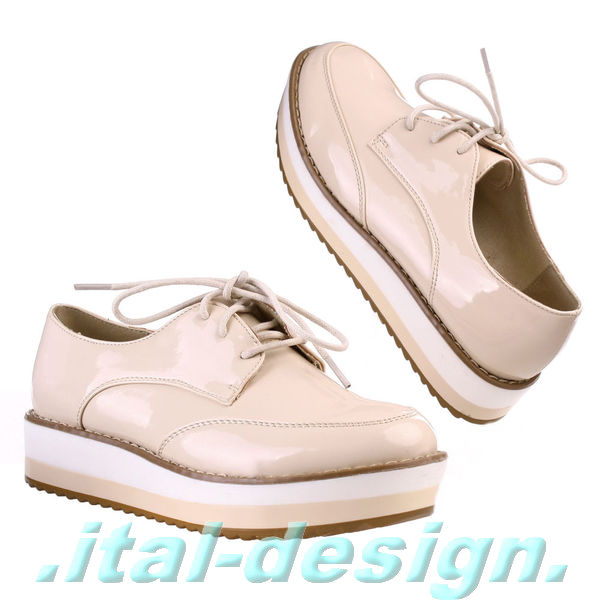 neu designer damen schuhe freizeitschuhe boots halbschuhe lack 2a8u beige ebay. Black Bedroom Furniture Sets. Home Design Ideas