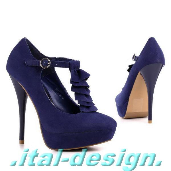neu designer damen schuhe pumps plateau high heels riemchen i78z dunkelblau 0 ebay. Black Bedroom Furniture Sets. Home Design Ideas