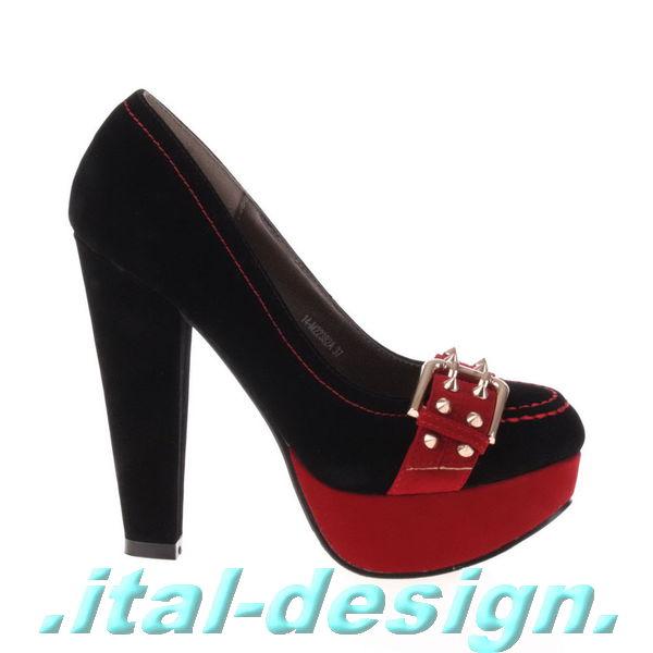 neu damen schuhe pumps high heels plateau riemchen nieten. Black Bedroom Furniture Sets. Home Design Ideas