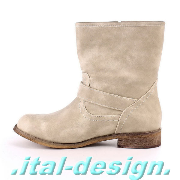 neu designer damen schuhe stiefeletten boots mit nieten used look b77z beige 0 ebay. Black Bedroom Furniture Sets. Home Design Ideas