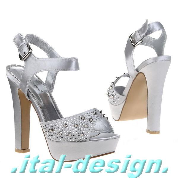 designer damen schuhe pumps high heels plateau nieten und strass 78hg silber ebay. Black Bedroom Furniture Sets. Home Design Ideas
