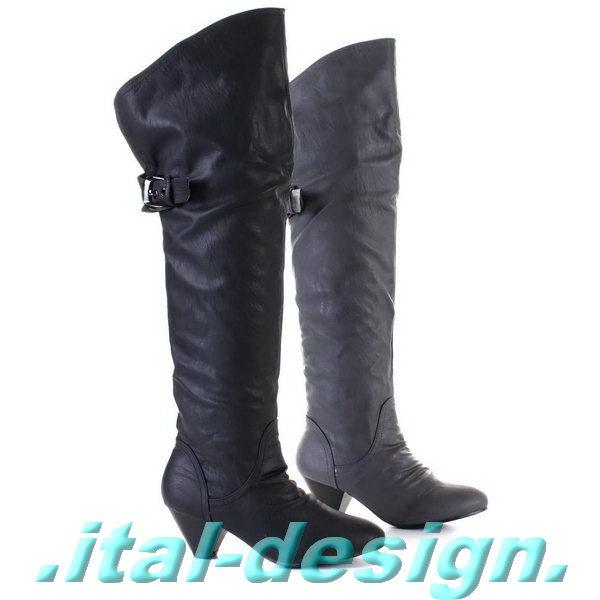 Damen Overknee Stiefel Schuhe luxus Sportliche 2461 Schwarz 40