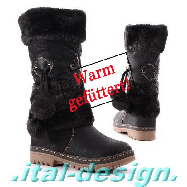neu designer damen schuhe stiefel boots mit kunst fell und. Black Bedroom Furniture Sets. Home Design Ideas