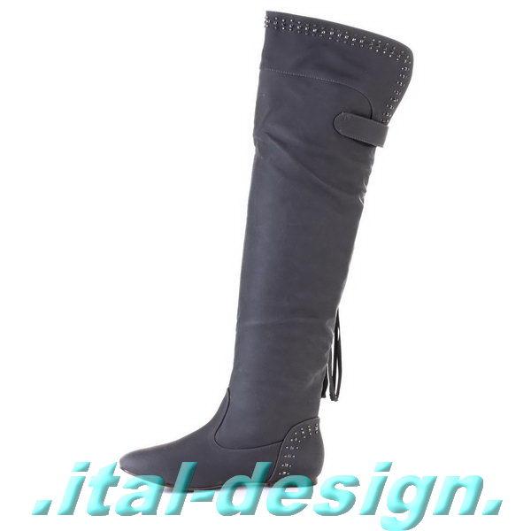 designer damen schuhe overknee stiefel x7r8 grau neu. Black Bedroom Furniture Sets. Home Design Ideas
