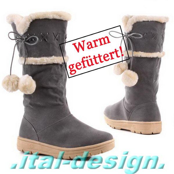 designer damen schuhe stiefel boots mit bommel warm. Black Bedroom Furniture Sets. Home Design Ideas