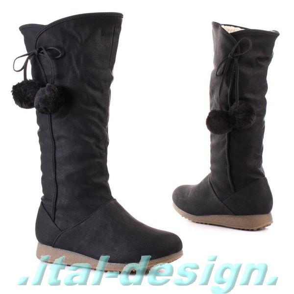 neu damen schuhe stiefel boots mit bommel in leder optik. Black Bedroom Furniture Sets. Home Design Ideas