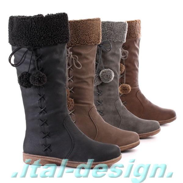 luxus neu designer damen schuhe stiefel boots bommel leder. Black Bedroom Furniture Sets. Home Design Ideas